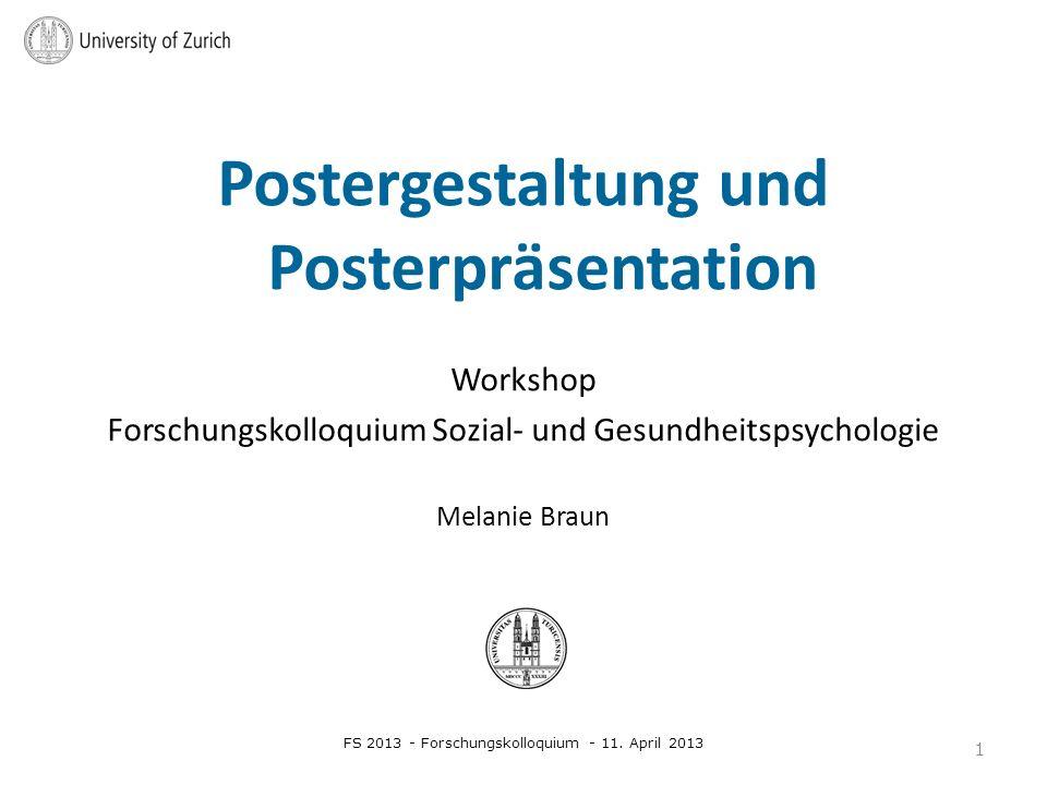 Postergestaltung und Posterpräsentation