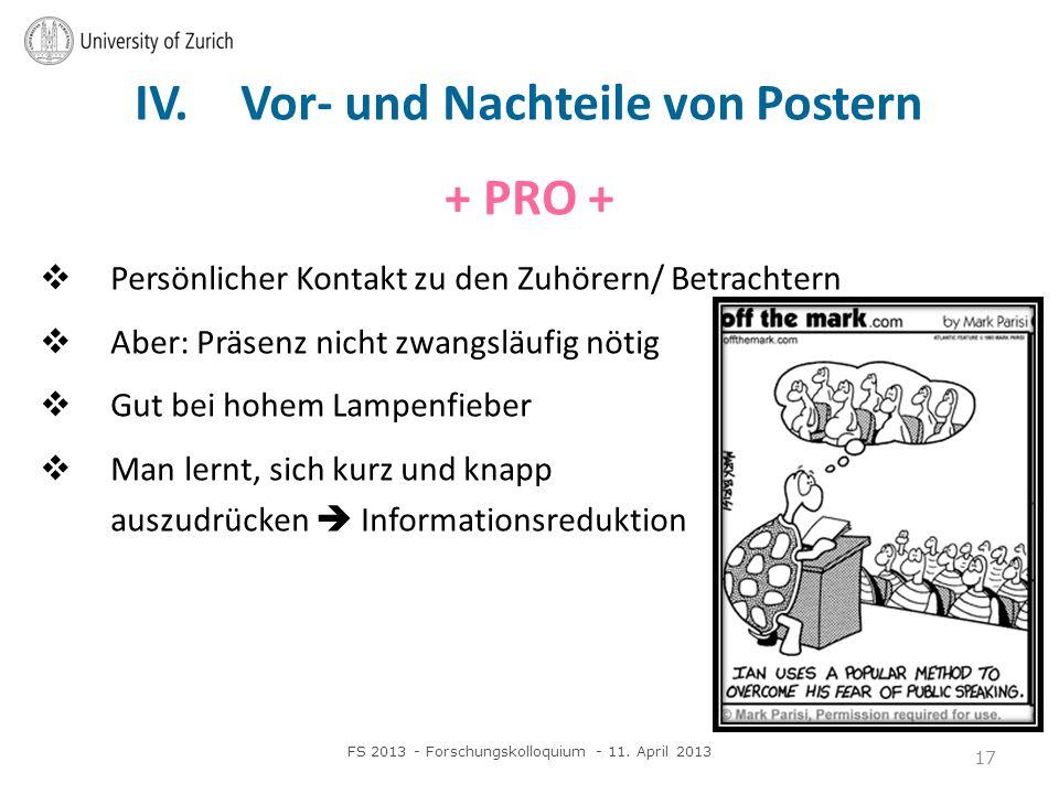 IV. Vor- und Nachteile von Postern