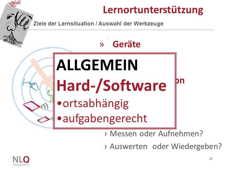 ALLGEMEIN Hard-/Software ortsabhängig aufgabengerecht