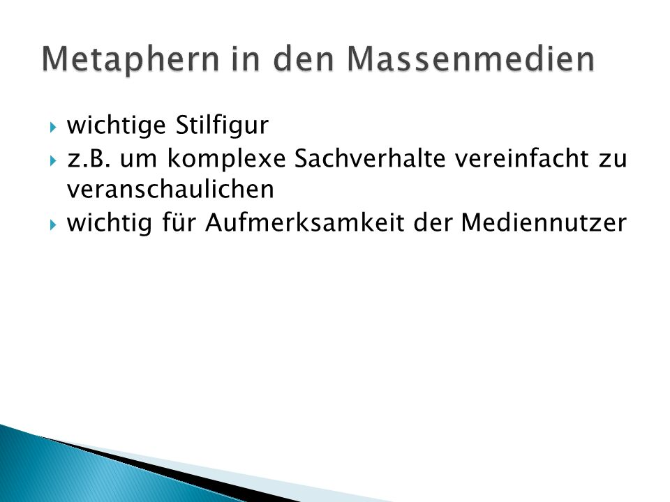 Metaphern in den Massenmedien