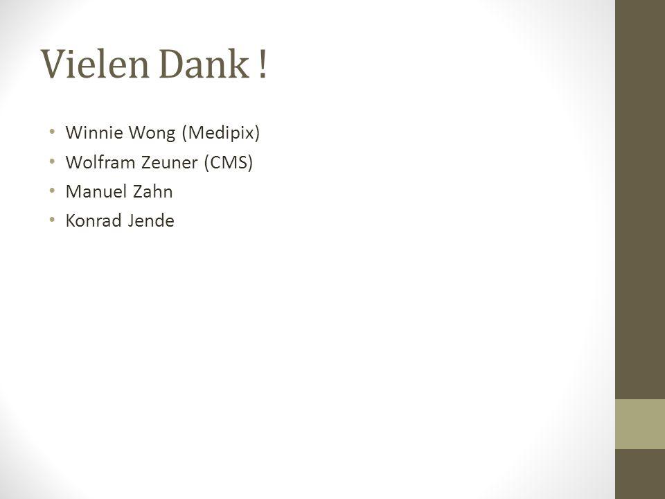 Vielen Dank ! Winnie Wong (Medipix) Wolfram Zeuner (CMS) Manuel Zahn