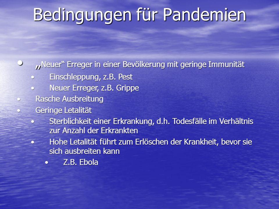 Bedingungen für Pandemien