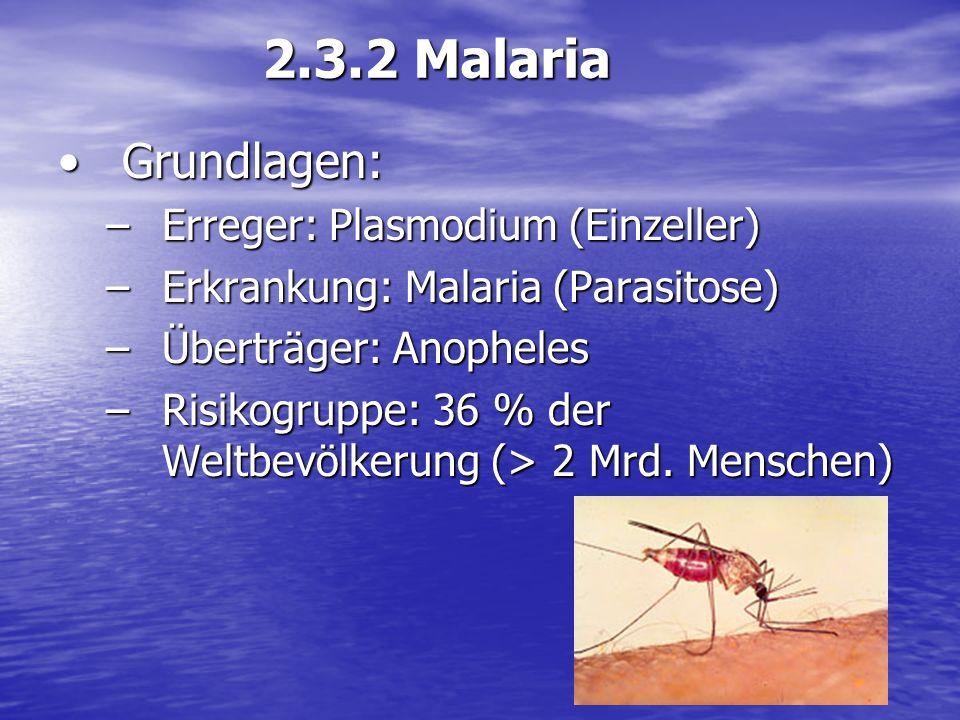 2.3.2 Malaria Grundlagen: Erreger: Plasmodium (Einzeller)