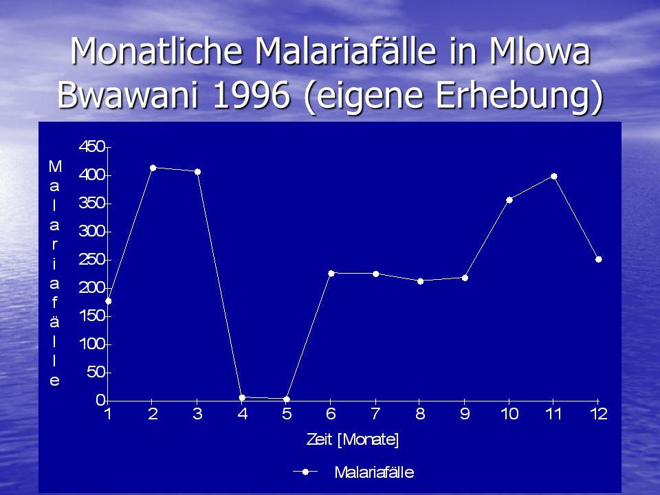 Monatliche Malariafälle in Mlowa Bwawani 1996 (eigene Erhebung)