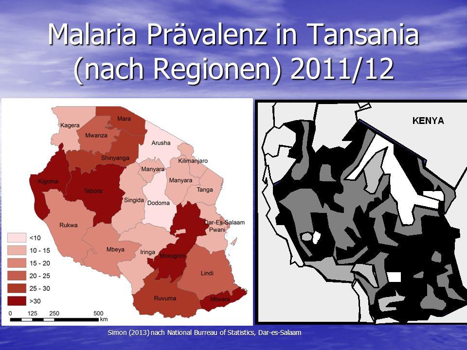 Malaria Prävalenz in Tansania (nach Regionen) 2011/12