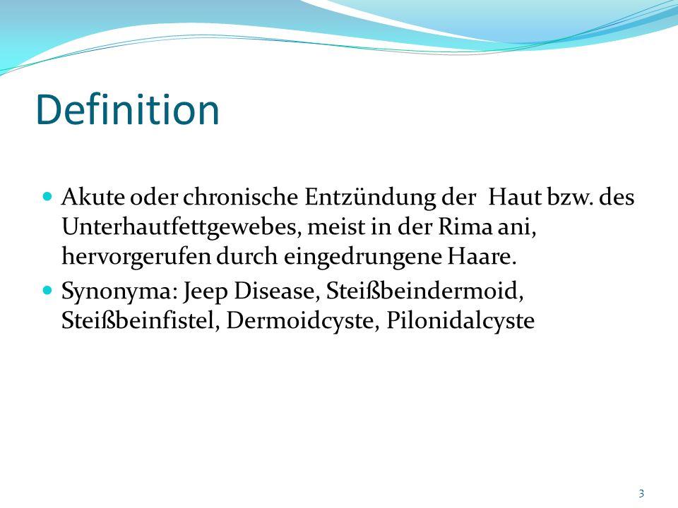 Definition Akute oder chronische Entzündung der Haut bzw. des Unterhautfettgewebes, meist in der Rima ani, hervorgerufen durch eingedrungene Haare.