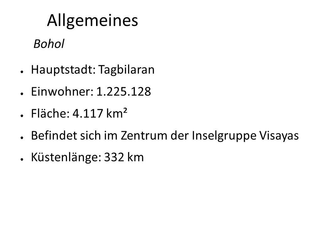 Allgemeines Bohol Hauptstadt: Tagbilaran Einwohner: 1.225.128