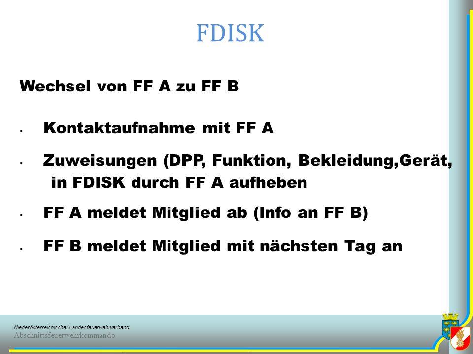 FDISK Wechsel von FF A zu FF B Kontaktaufnahme mit FF A