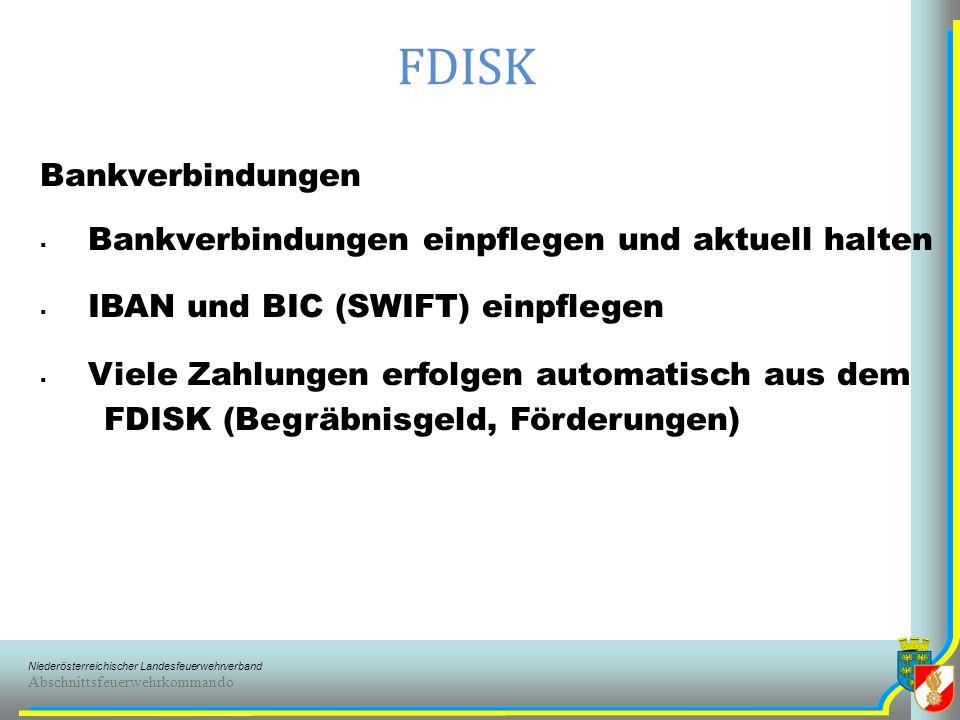 FDISK Bankverbindungen Bankverbindungen einpflegen und aktuell halten