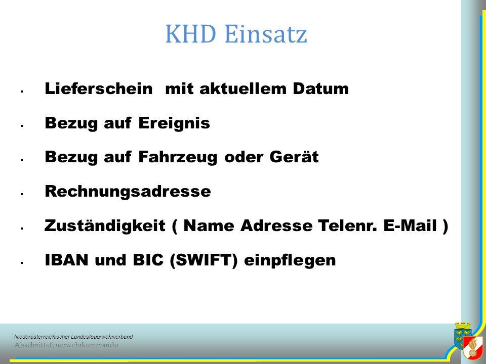 KHD Einsatz Lieferschein mit aktuellem Datum Bezug auf Ereignis