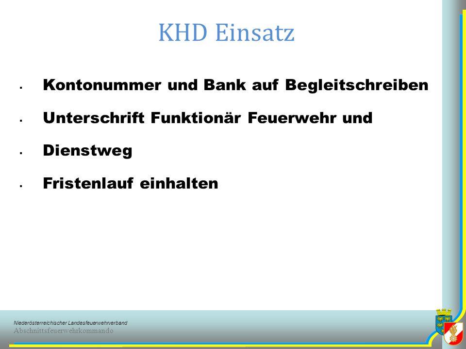 KHD Einsatz Kontonummer und Bank auf Begleitschreiben