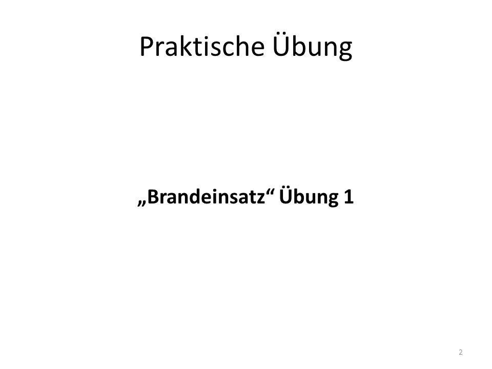 """Praktische Übung """"Brandeinsatz Übung 1"""