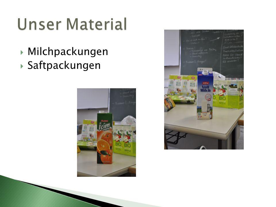 Unser Material Milchpackungen Saftpackungen
