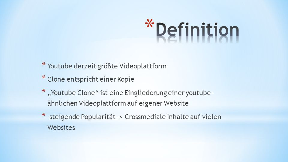 Definition Youtube derzeit größte Videoplattform
