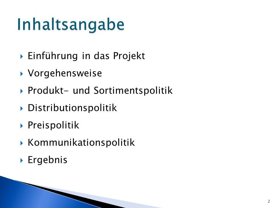 Inhaltsangabe Einführung in das Projekt Vorgehensweise