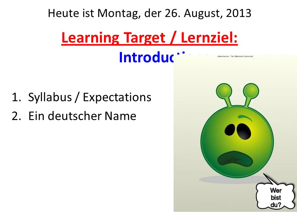 Learning Target / Lernziel: Introductions