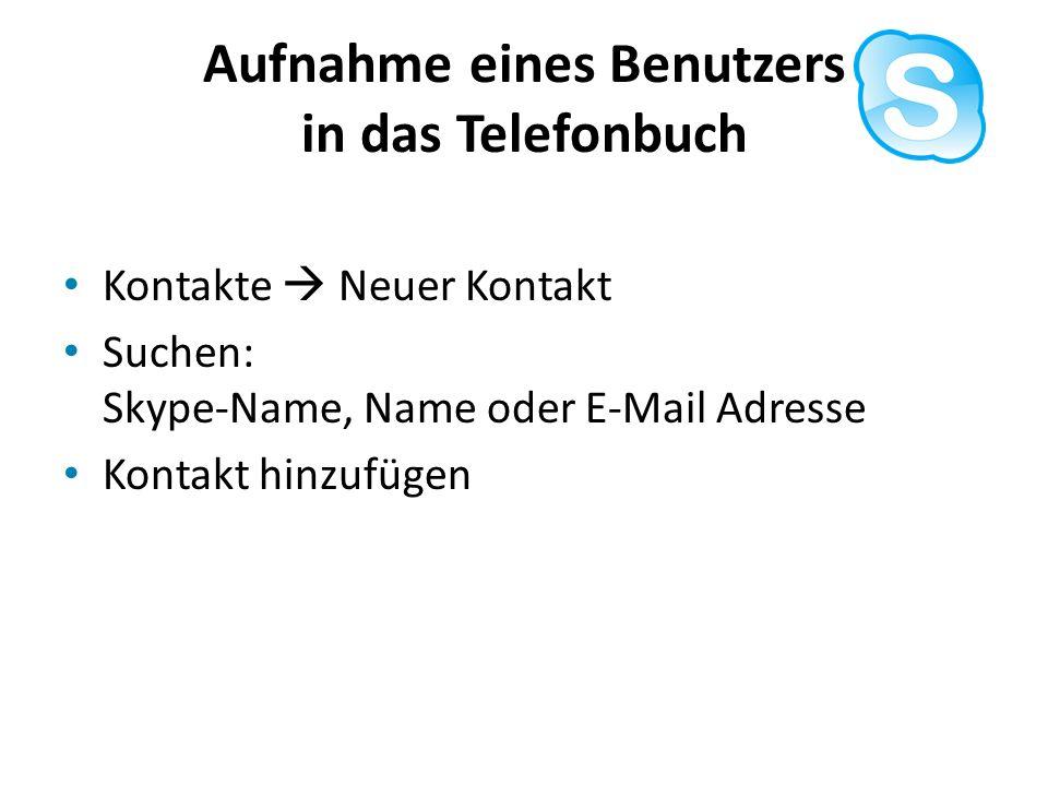 Aufnahme eines Benutzers in das Telefonbuch