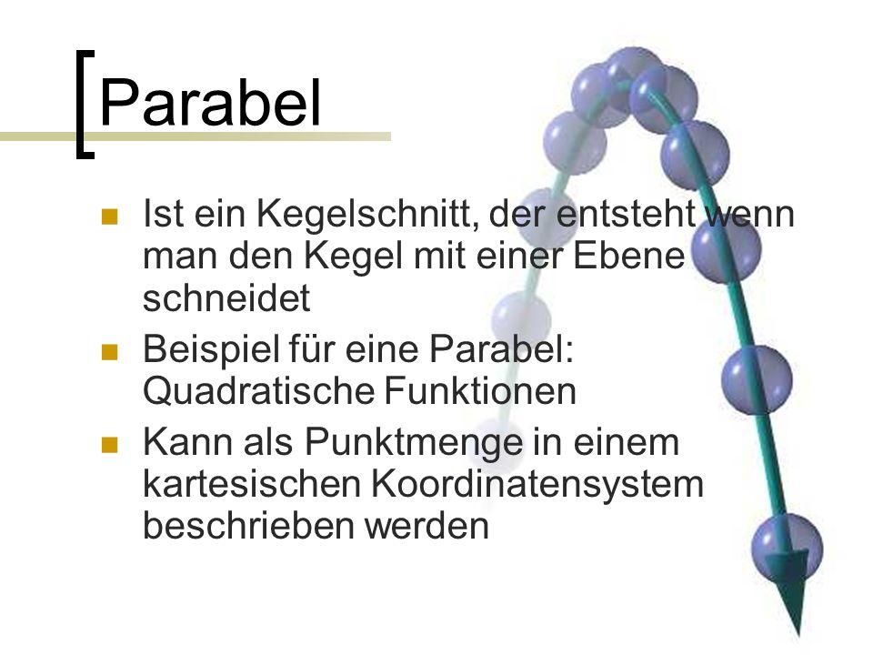 Parabel Ist ein Kegelschnitt, der entsteht wenn man den Kegel mit einer Ebene schneidet. Beispiel für eine Parabel: Quadratische Funktionen.