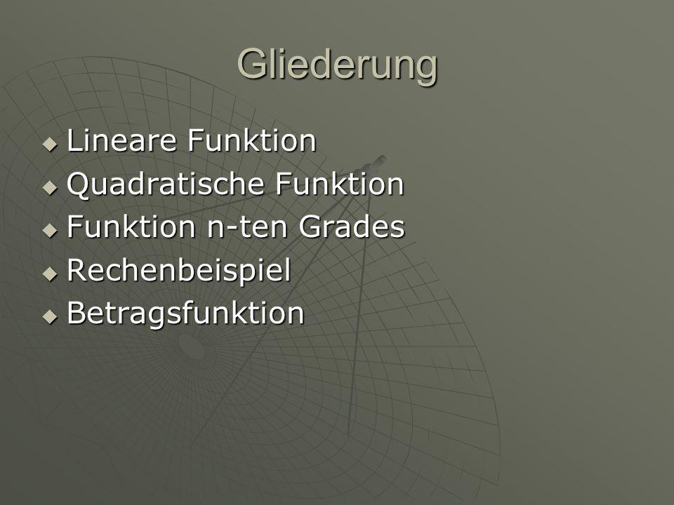 Gliederung Lineare Funktion Quadratische Funktion
