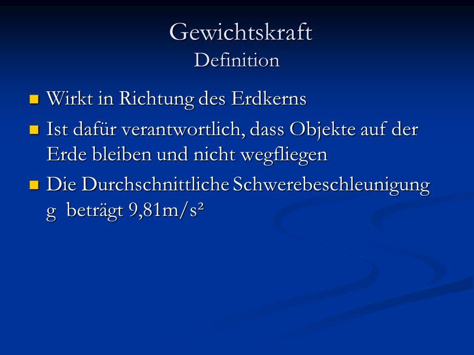 Gewichtskraft Definition