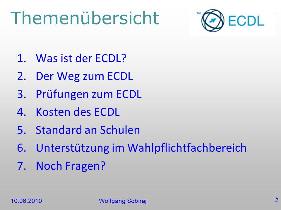 Themenübersicht Was ist der ECDL Der Weg zum ECDL Prüfungen zum ECDL