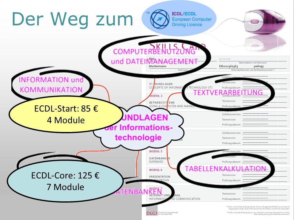 Der Weg zum ECDL ECDL-Start: 85 € 4 Module ECDL-Core: 125 € 7 Module