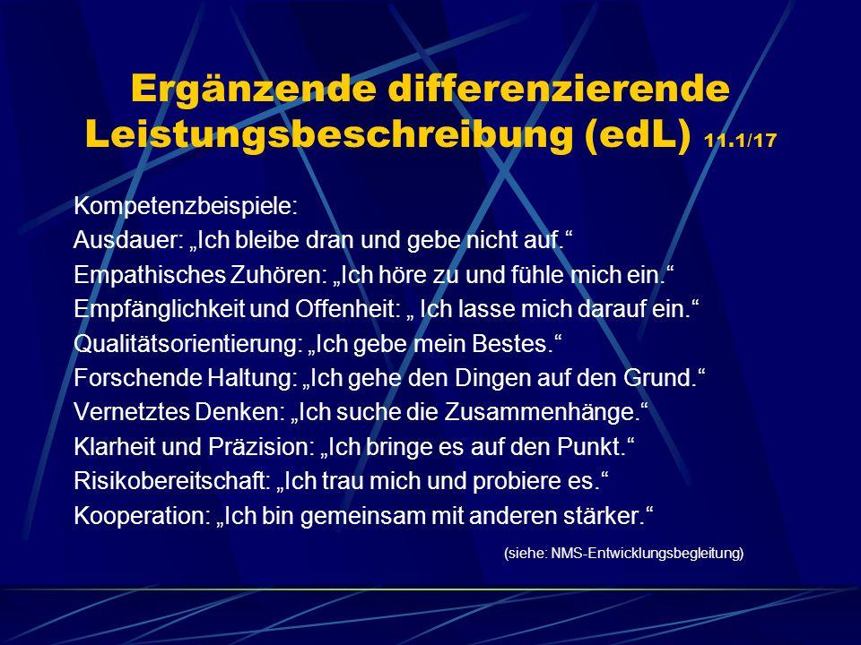 Ergänzende differenzierende Leistungsbeschreibung (edL) 11.1/17