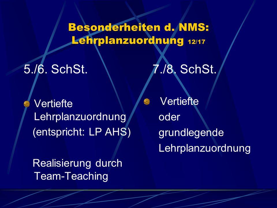 Besonderheiten d. NMS: Lehrplanzuordnung 12/17