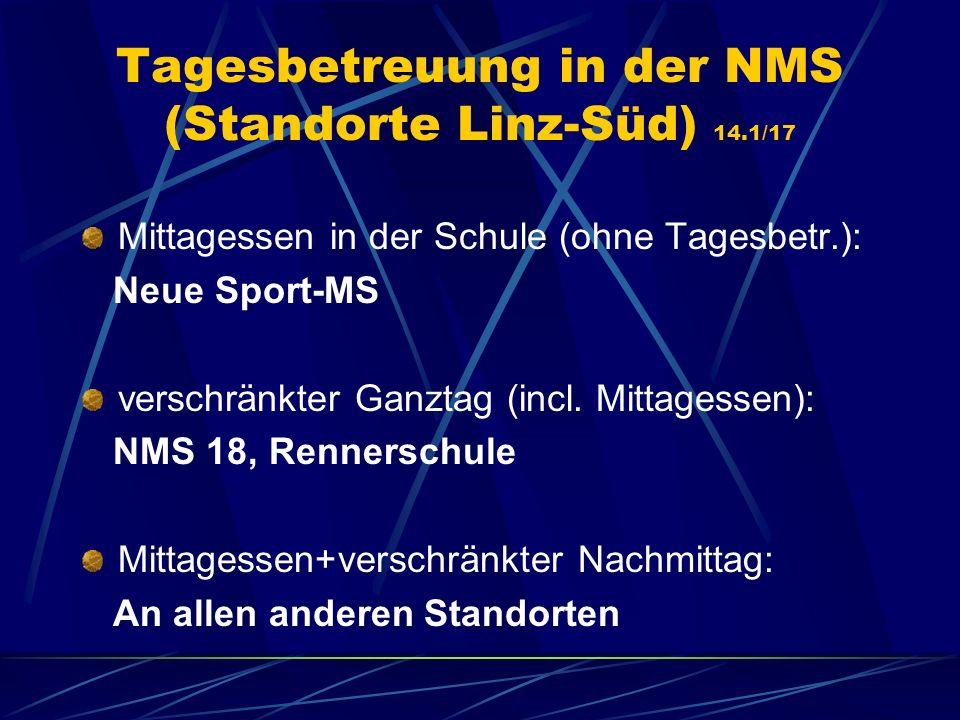 Tagesbetreuung in der NMS (Standorte Linz-Süd) 14.1/17