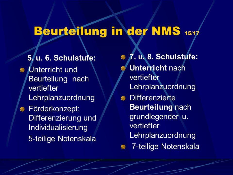 Beurteilung in der NMS 15/17