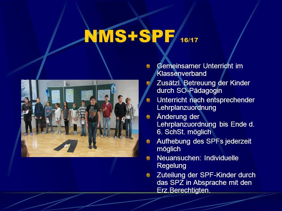 NMS+SPF 16/17 Gemeinsamer Unterricht im Klassenverband
