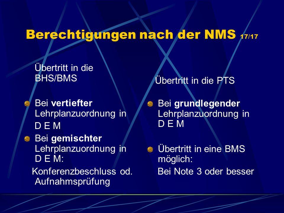 Berechtigungen nach der NMS 17/17
