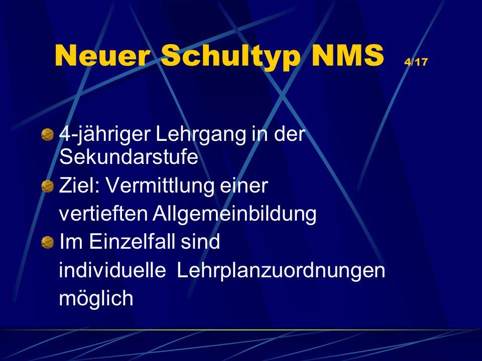 Neuer Schultyp NMS 4/17 4-jähriger Lehrgang in der Sekundarstufe