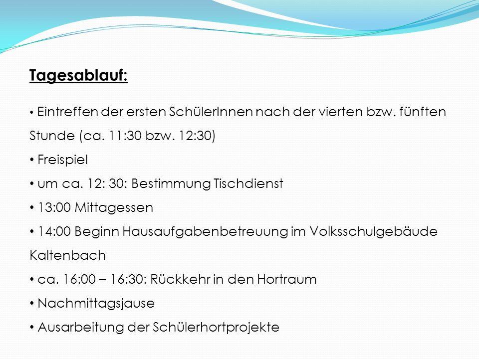 Tagesablauf: Freispiel um ca. 12: 30: Bestimmung Tischdienst