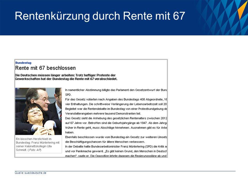 Rentenkürzung durch Rente mit 67