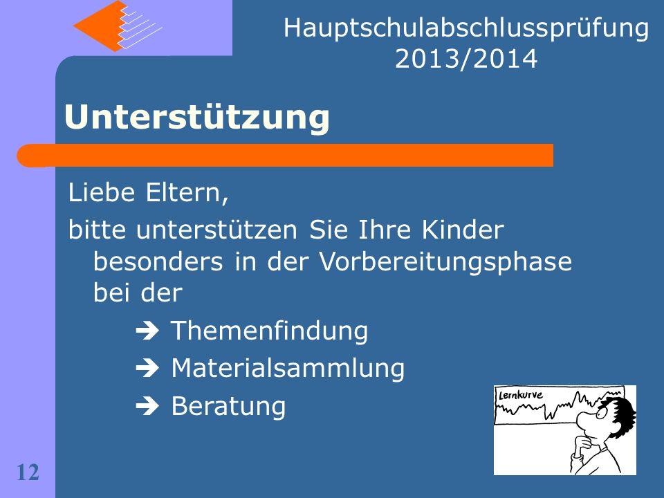 Hauptschulabschlussprüfung 2013/2014