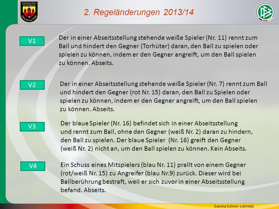 2. Regeländerungen 2013/14 Der in einer Abseitsstellung stehende weiße Spieler (Nr. 11) rennt zum.