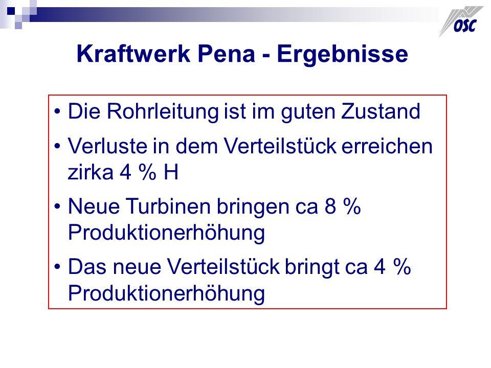 Kraftwerk Pena - Ergebnisse