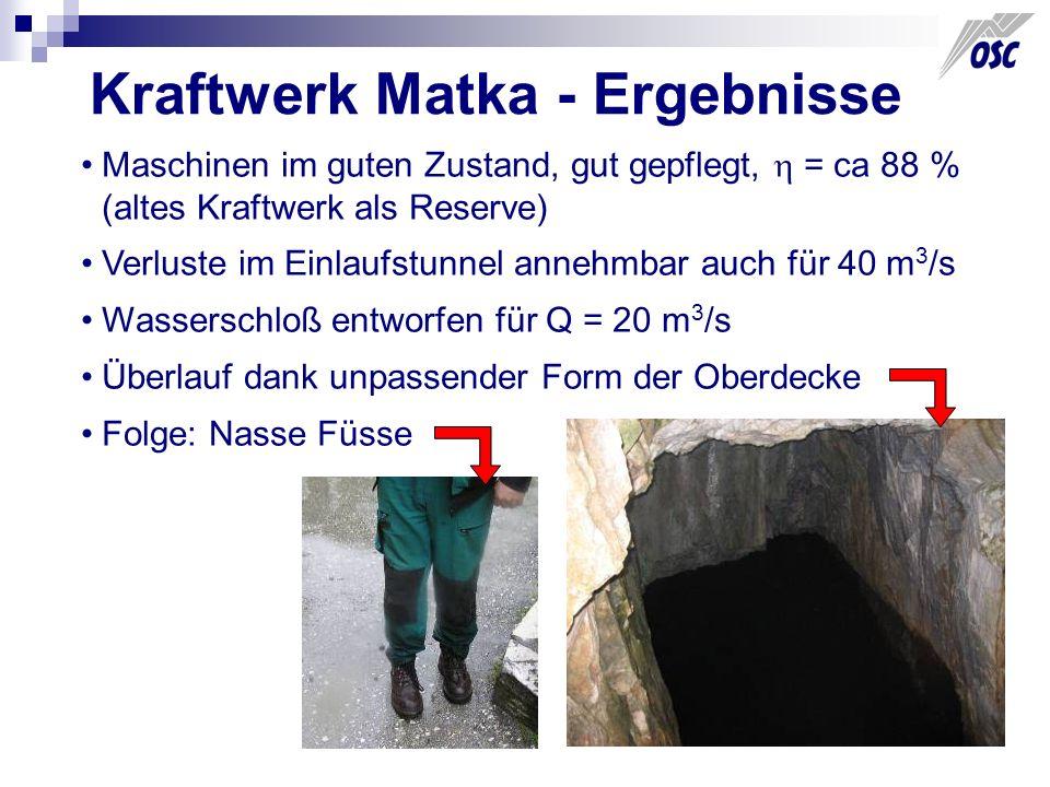 Kraftwerk Matka - Ergebnisse