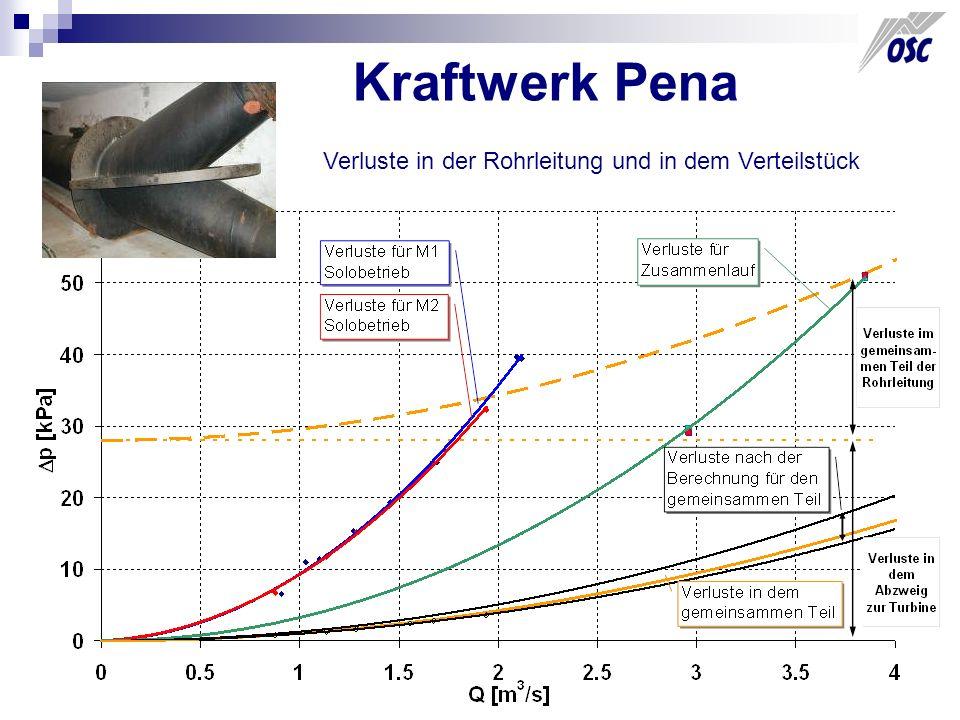 Kraftwerk Pena Verluste in der Rohrleitung und in dem Verteilstück