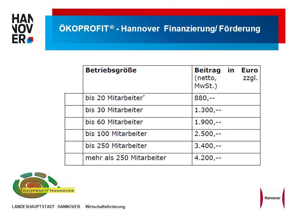 ÖKOPROFIT ® - Hannover Finanzierung/ Förderung