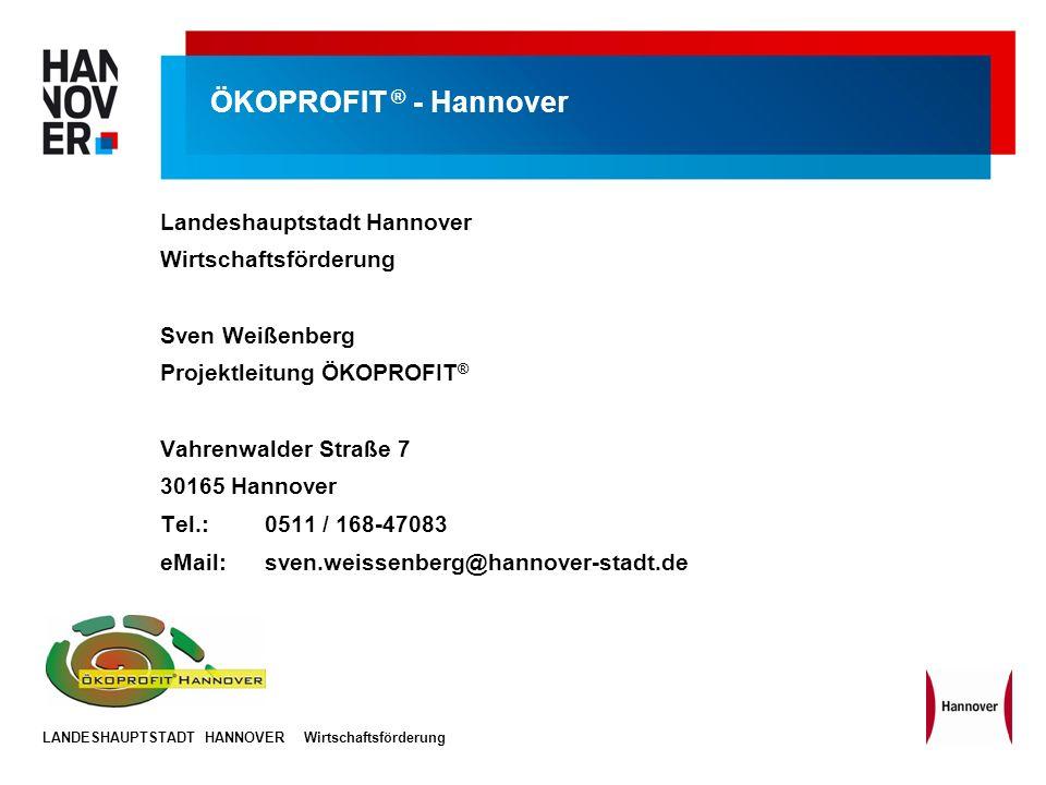 ÖKOPROFIT ® - Hannover Landeshauptstadt Hannover Wirtschaftsförderung