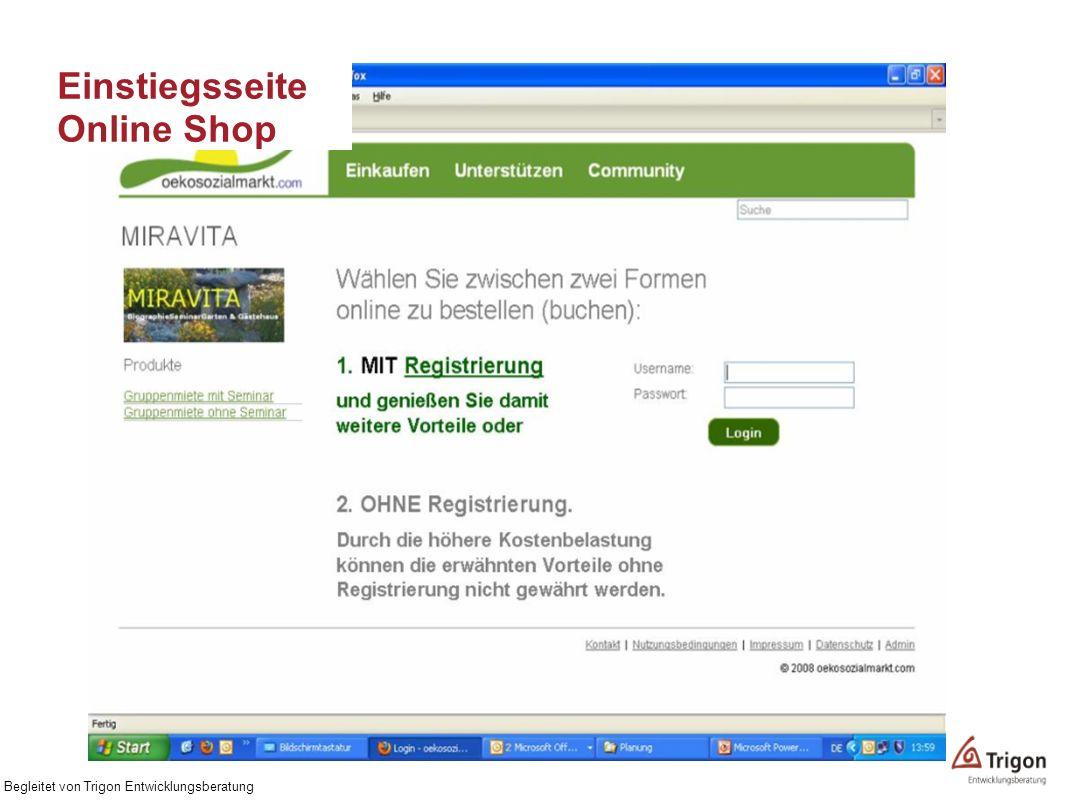 Einstiegsseite Online Shop