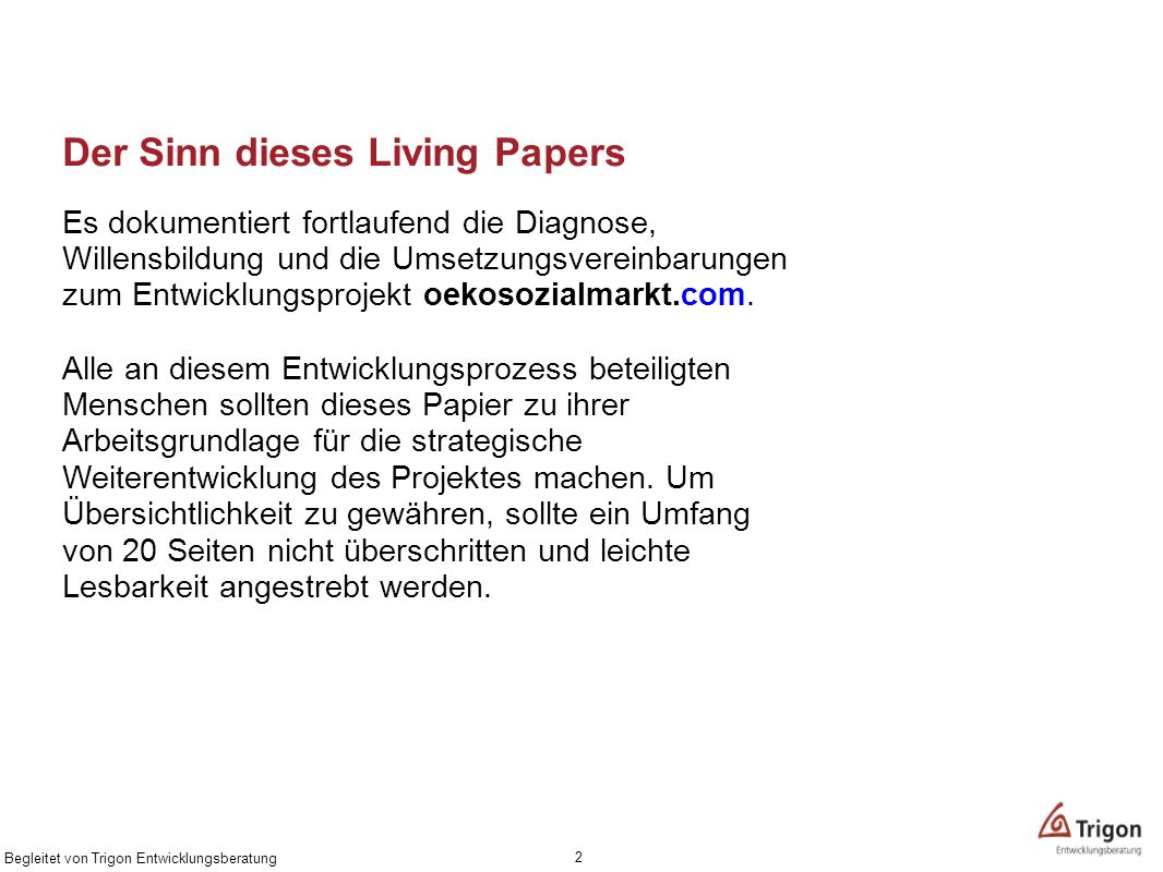 Der Sinn dieses Living Papers
