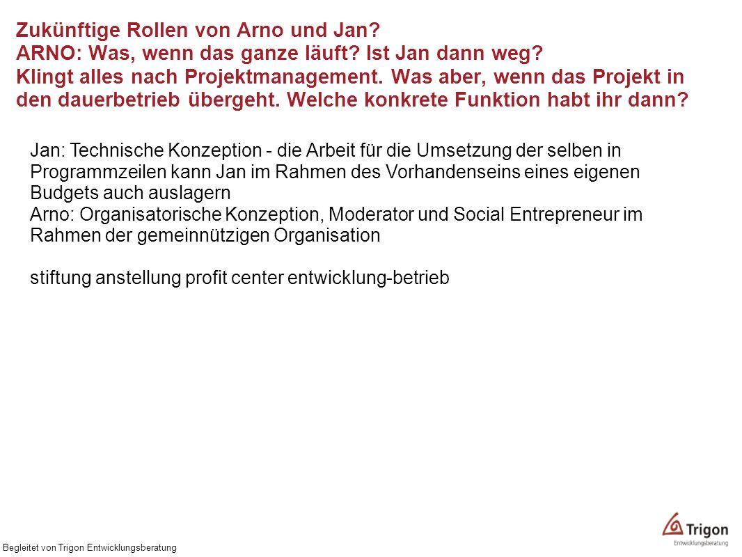 Zukünftige Rollen von Arno und Jan. ARNO: Was, wenn das ganze läuft