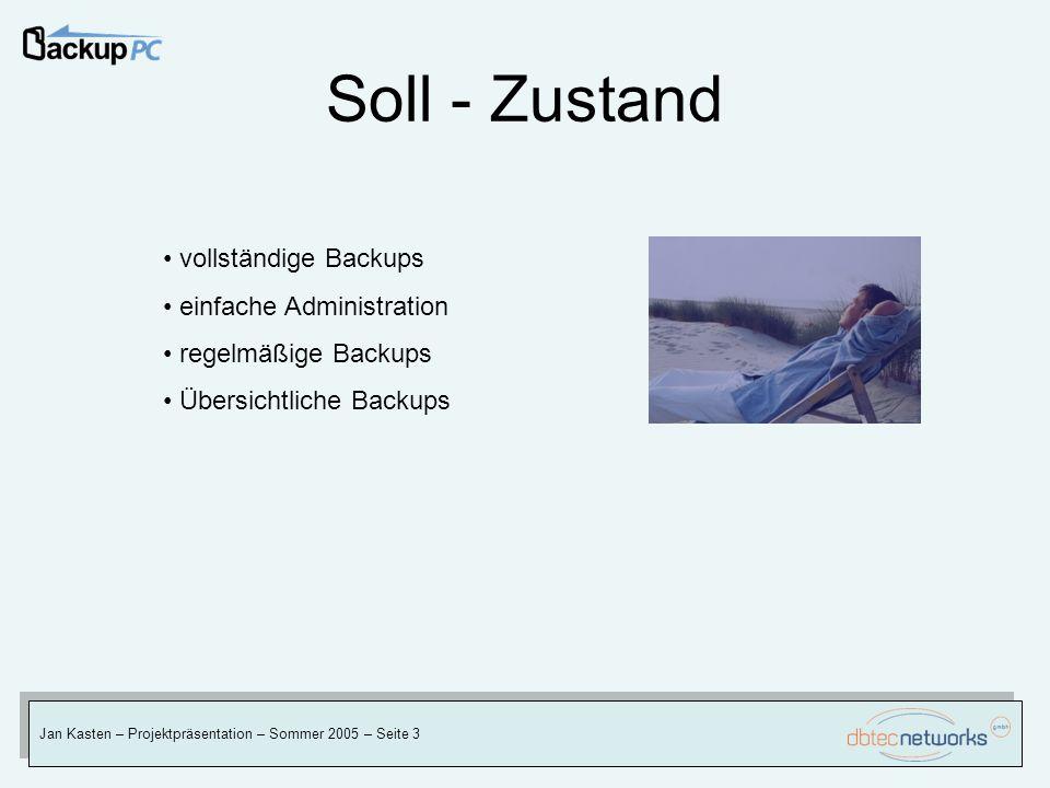 Soll - Zustand vollständige Backups einfache Administration