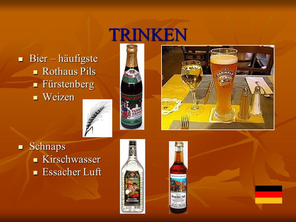 TRINKEN Bier – häufigste Rothaus Pils Fürstenberg Weizen Schnaps