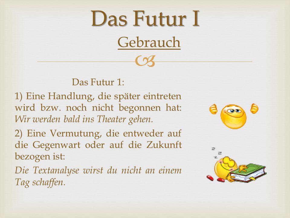Das Futur I Gebrauch.