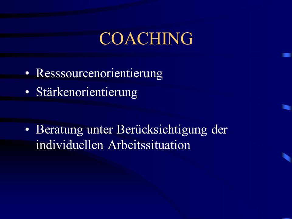 COACHING Resssourcenorientierung Stärkenorientierung