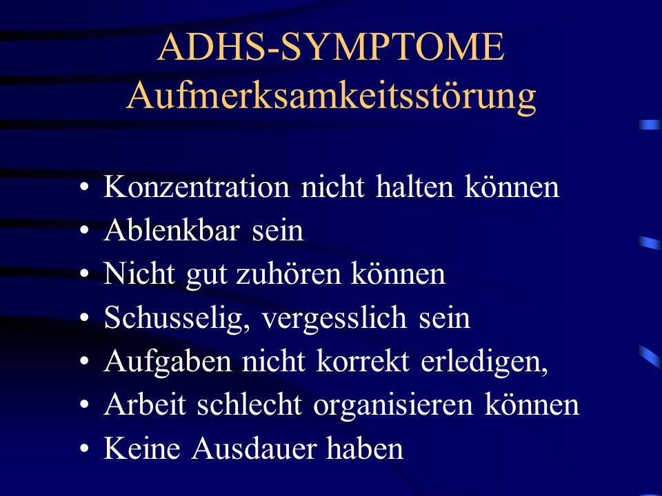ADHS-SYMPTOME Aufmerksamkeitsstörung